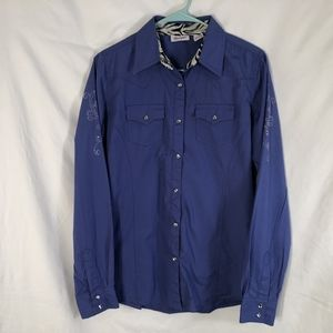 Wrangler Medium Top Shirt Blue Snap Down 954